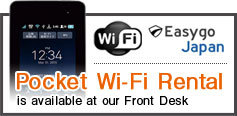 Pockent Wifi Rental is available at our Front Desk Easygo japan